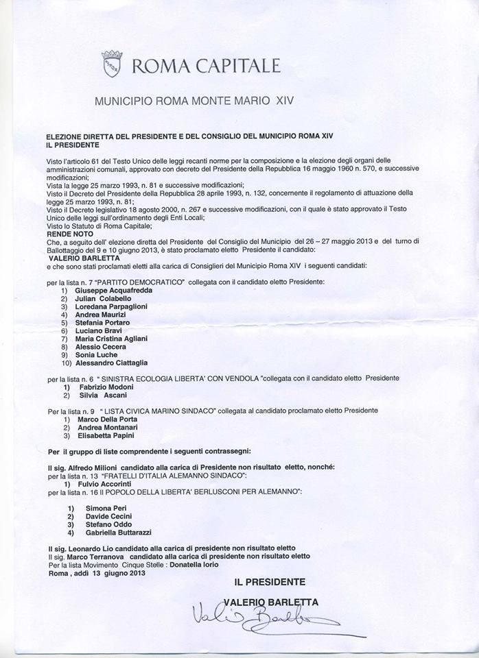 Consiglieri municipali XIV